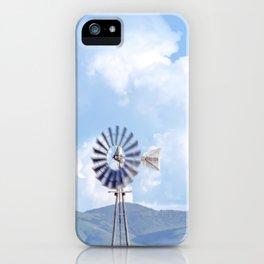 """Blue Windmill Blue Sky"" by Murray Bolesta iPhone Case"