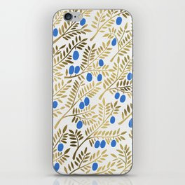 Olive Branches – Gold & Blue iPhone Skin