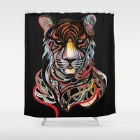 tiger Shower Curtains featuring Tiger by Felicia Atanasiu