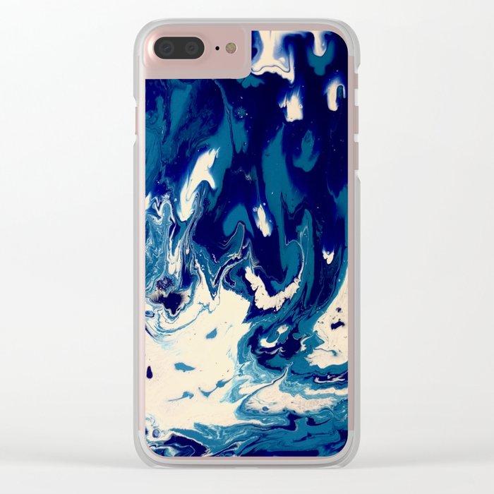 MIDNIGHT BLUE MARBLE #2 Clear iPhone Case