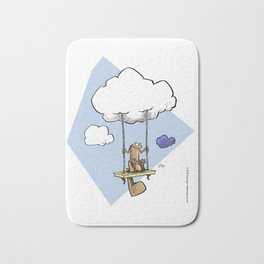 Squirrel swinging on a cloud Bath Mat