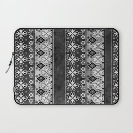 Ethnic black and gray ornament . Grunge . Laptop Sleeve