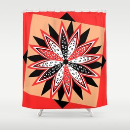 Floral red and black Shower Curtain