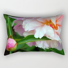 Pink Peony Blossom and Bud Rectangular Pillow