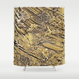 Baby Handprints in Gold and Black Shower Curtain