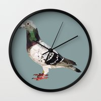 pigeon Wall Clocks featuring Pigeon by Sally Taylor