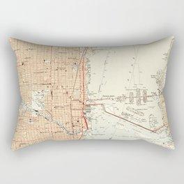 Vintage Map of Miami Florida (1950) Rectangular Pillow
