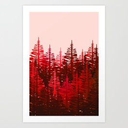 Pine Forest - Red and Pink Art Print