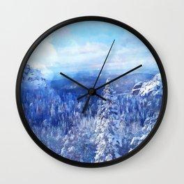 Blue Land II Wall Clock