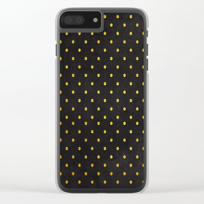 AUTUMN - gold acorns on chalkboard background Clear iPhone Case