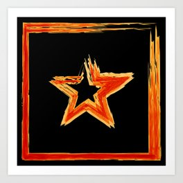 Fire star in red and blue color on a black background. Art Print