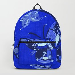 Blue Folk Butterflies Backpack