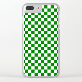 Small Checkered - White and Green Clear iPhone Case