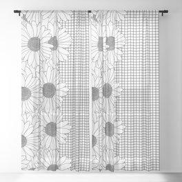 Daisy Grid on Side Sheer Curtain