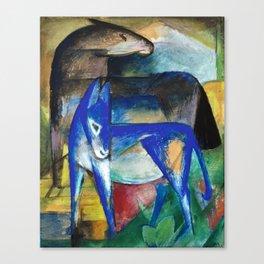 Franz Marc - Zwei Blaue Esel - Pferd und Esel - Two Blue Donkeys - Horse and Donkey Canvas Print