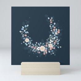 Elegant Boho Chic Navy Blue Blush Pink Flower Wreath floral crescent Mini Art Print