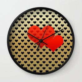 Two red hearts in tandem on black hearts pattern Wall Clock