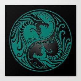 Teal Blue and Black Yin Yang Dragons Canvas Print