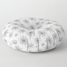 Spider web pattern. Black hand drawn spider webs on a white background. Floor Pillow