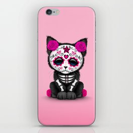 Cute Pink Day of the Dead Kitten Cat iPhone Skin
