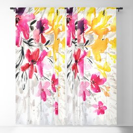 pink, yellow and black flowers Blackout Curtain