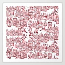 Doctor Who Toile de Jouy | 'Walking Doodle' | Red Art Print