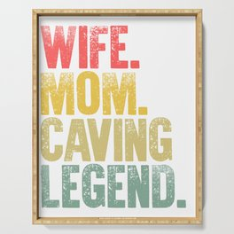 Best Mother Women Funny Gift T Shirt Wife Mom Caving Legend Serving Tray