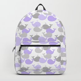 Whales Nautical Purple Lavender Gray Backpack