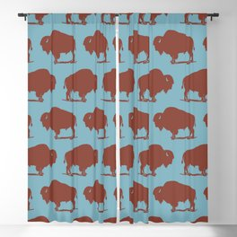 Buffalo Bison Pattern Brown and Blue Blackout Curtain