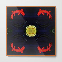 Koi Ying and Yang - Symmetrical Art2 Metal Print