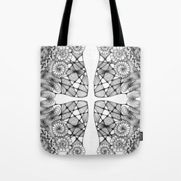 Black and White Zentangled Cross Tile Doodle Design Tote Bag