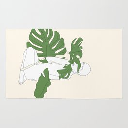 Woman with Monstera Leaves Rug