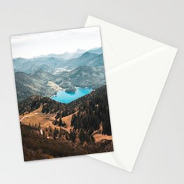 Mountains and lake Stationery Cards