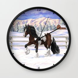 Brown and White Bay Pinto Skewbald Gypsy Vanner Draft Horse In Snow Wall Clock
