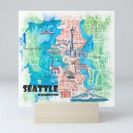 Seattle Washington Illustrated Map with Main Roads Landmarks and Highlights Mini Art Print
