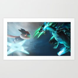 Ash-Greninja VS Mega Charizard X Pokémon Art Print