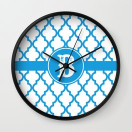 Blue Monogram: Letter B Wall Clock