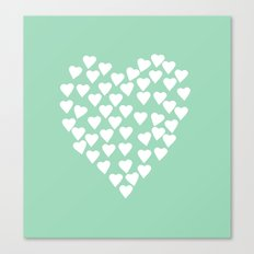 Hearts Heart White on Mint Canvas Print