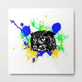 Owl Colors Explosion Metal Print