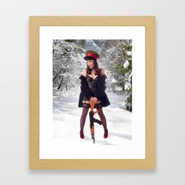 """Sovietsky on Ice"" - The Playful Pinup - Russian Theme Pin-up Girl in Snow by Maxwell H. Johnson Framed Art Print"