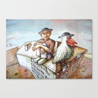 jewish Canvas Prints featuring Jewish Bird by Michael Zobak