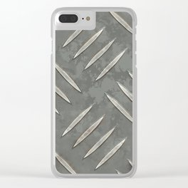 Metal diamond plate Clear iPhone Case