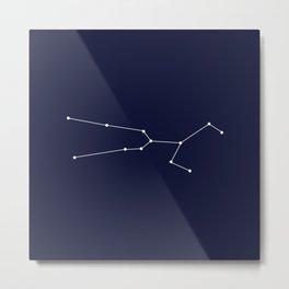 Taurus Star Sign Deep Blue Metal Print