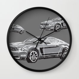 Mustang Digital Painting - Greyscale Wall Clock