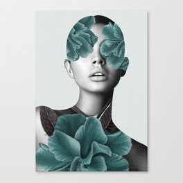 Floral Portrait (woman) Canvas Print