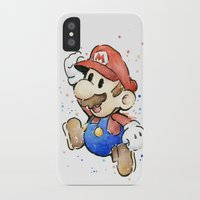 mario iPhone & iPod Cases featuring Mario Watercolor by Olechka