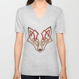 Celtic fox - celtic knot Unisex V-Neck