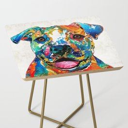 Colorful Dog Pit Bull Art - Happy - By Sharon Cummings Side Table