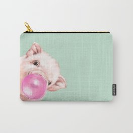 Bubble Gum Sneaky Baby Pig in Green Carry-All Pouch
