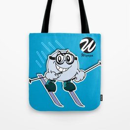Snow Skier Cartoon Character with Goggles Tote Bag